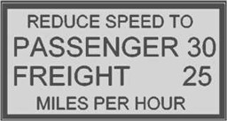 "Bild von Schild ""Reduce Speed to..."""